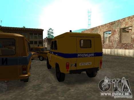 UAZ 3151 Police pour GTA San Andreas sur la vue arrière gauche