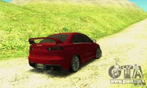 Mitsubishi Lancer Evolution X 2008 pour GTA San Andreas laissé vue