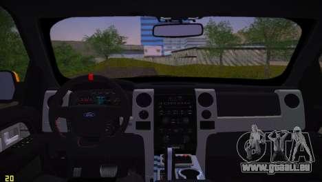 Ford F-150 SVT Raptor pour GTA Vice City vue arrière