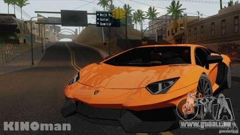 Lamborghini Aventador LP 700-4 für GTA San Andreas zurück linke Ansicht