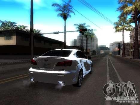 Lexus IS F für GTA San Andreas Rückansicht