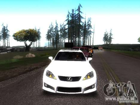Lexus IS F pour GTA San Andreas sur la vue arrière gauche