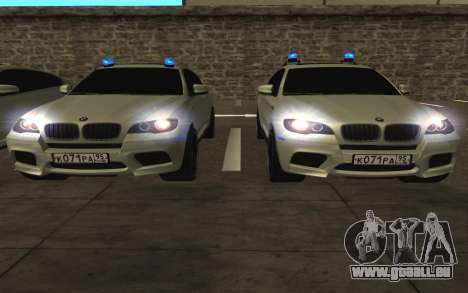 BMW X 6 M mit blinkenden Lichter PPP für GTA San Andreas obere Ansicht