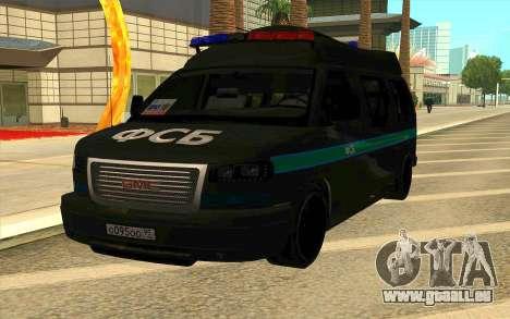 GMC Savana AWD FSB pour GTA San Andreas sur la vue arrière gauche