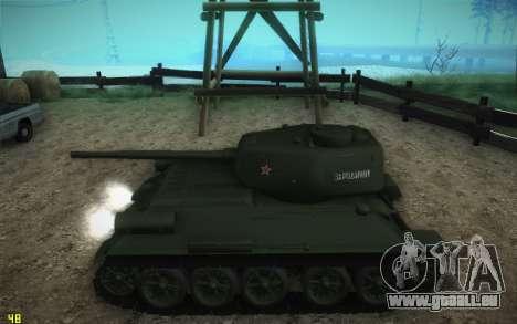 T-34-85 modèle 1945 pour GTA San Andreas sur la vue arrière gauche