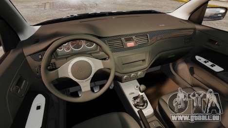 Mitsubishi Lancer Evolution VIII MR CobrazHD pour GTA 4 est une vue de l'intérieur