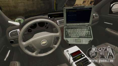 Chevrolet Suburban GTA V Blaine County Sheriff für GTA 4 Rückansicht