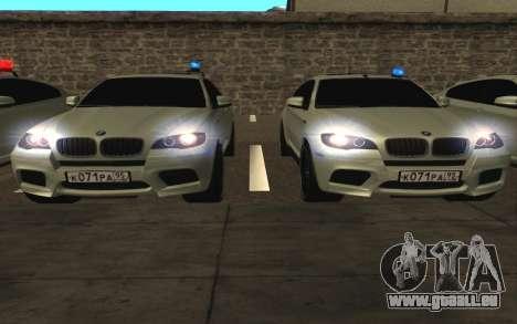 BMW X 6 M mit blinkenden Lichter PPP für GTA San Andreas Seitenansicht