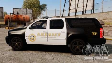 Chevrolet Suburban GTA V Blaine County Sheriff pour GTA 4 est une gauche
