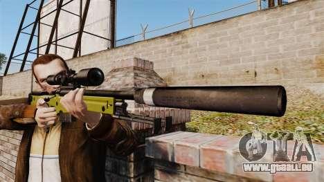 Fusil de sniper AW L115A1 avec un silencieux v3 pour GTA 4 troisième écran