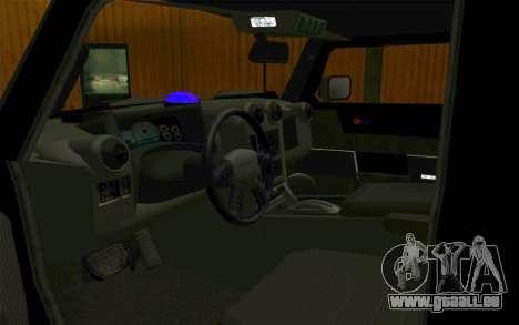 Hummer H2 für GTA San Andreas Innenansicht