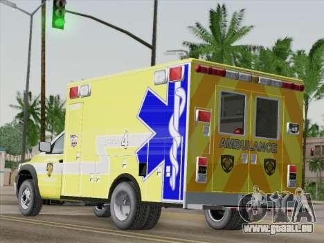 Dodge Ram Ambulance BCFD Paramedic 100 für GTA San Andreas zurück linke Ansicht
