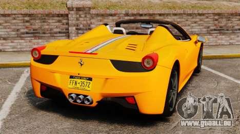 Ferrari 458 Spider 2013 Italian für GTA 4 hinten links Ansicht