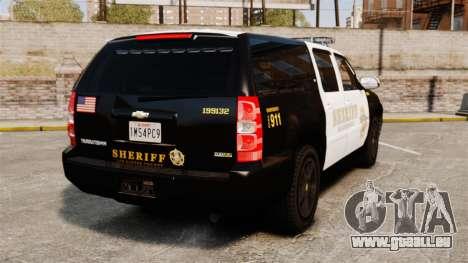 Chevrolet Suburban GTA V Blaine County Sheriff pour GTA 4 Vue arrière de la gauche