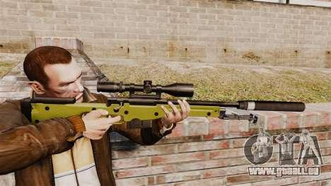Fusil de sniper AW L115A1 avec un silencieux v3 pour GTA 4