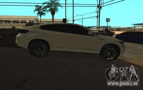 BMW X 6 M mit blinkenden Lichter PPP für GTA San Andreas zurück linke Ansicht