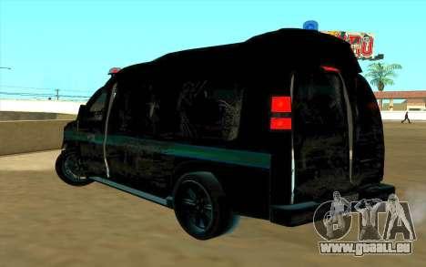 GMC Savana AWD FSB pour GTA San Andreas vue arrière