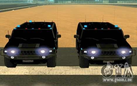 Hummer H2 für GTA San Andreas obere Ansicht