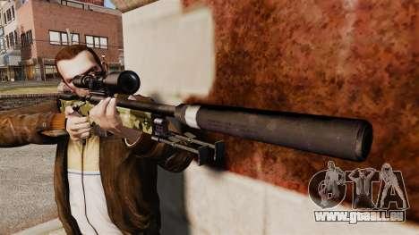 Fusil de sniper AW L115A1 avec un silencieux v7 pour GTA 4 troisième écran
