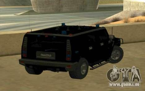 Hummer H2 für GTA San Andreas zurück linke Ansicht
