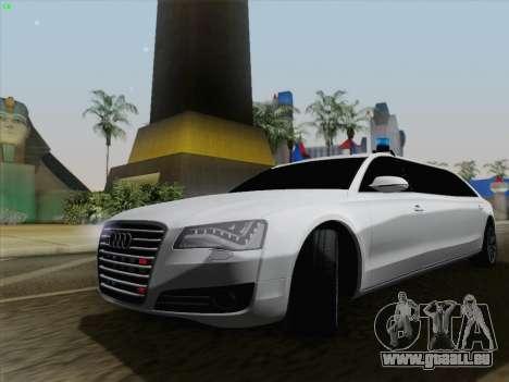 Audi A8 Limousine pour GTA San Andreas sur la vue arrière gauche