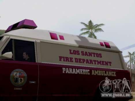 Vapid Ambulance 1986 pour GTA San Andreas sur la vue arrière gauche