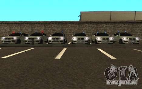 BMW X 6 M mit blinkenden Lichter PPP für GTA San Andreas Rückansicht