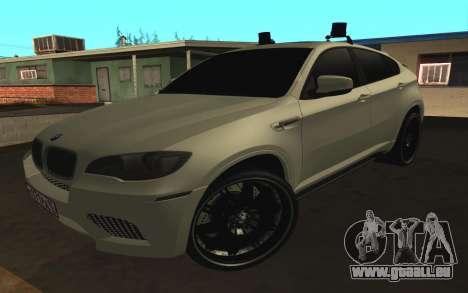 BMW X 6 M mit blinkenden Lichter PPP für GTA San Andreas linke Ansicht