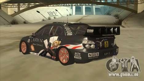 Subaru Impreza WRC Itasha für GTA San Andreas Rückansicht