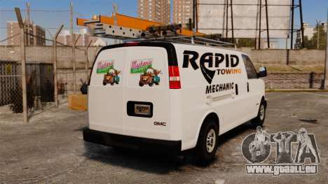 GMC Savana 2500 Rapid Towing Mechanic pour GTA 4 Vue arrière de la gauche