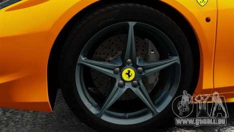 Ferrari 458 Spider 2013 Italian für GTA 4 Rückansicht