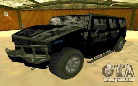 Hummer H2 pour GTA San Andreas vue de dessous