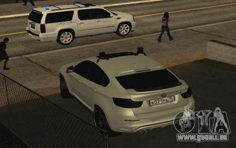 BMW X 6 M mit blinkenden Lichter PPP für GTA San Andreas rechten Ansicht