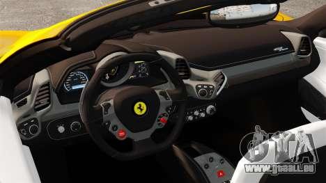 Ferrari 458 Spider 2013 Italian pour GTA 4 est une vue de l'intérieur