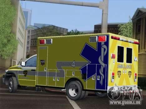 Dodge Ram Ambulance BCFD Paramedic 100 pour GTA San Andreas vue de dessus