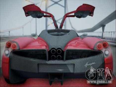 Pagani Huayra für GTA San Andreas Rückansicht