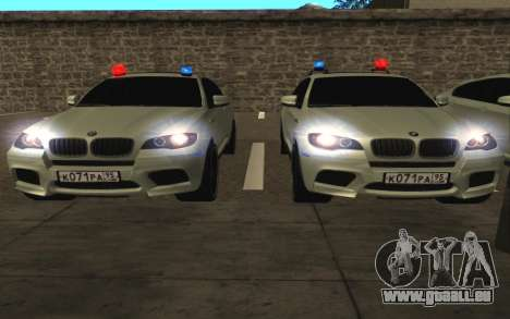 BMW X 6 M mit blinkenden Lichter PPP für GTA San Andreas Innenansicht
