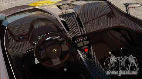 Lamborghini Aventador J Big Lambo pour GTA 4 est une vue de l'intérieur
