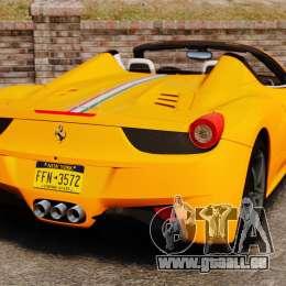 Ferrari 458 Spider 2013 Italian pour GTA 4 Vue arrière de la gauche