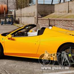 Ferrari 458 Spider 2013 Italian pour GTA 4 est une gauche