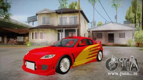 Mazda RX8 Tunnable pour GTA San Andreas vue intérieure