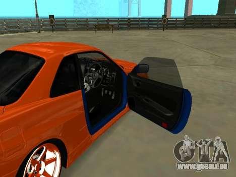 Nissan Skyline R-34 für GTA San Andreas Innenansicht