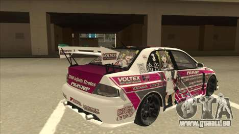 Mitsubishi Lancer EVO IX - Itasha pour GTA San Andreas vue de droite