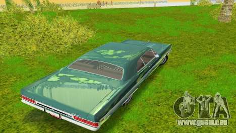 Plymouth Fury III 1969 Coupe für GTA Vice City obere Ansicht