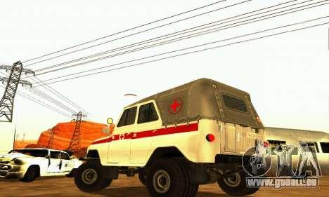 UAZ 469 Krankenwagen für GTA San Andreas zurück linke Ansicht
