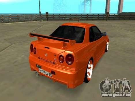 Nissan Skyline R-34 für GTA San Andreas zurück linke Ansicht