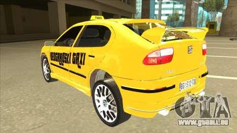 Seat Leon Belgrade Taxi pour GTA San Andreas vue arrière