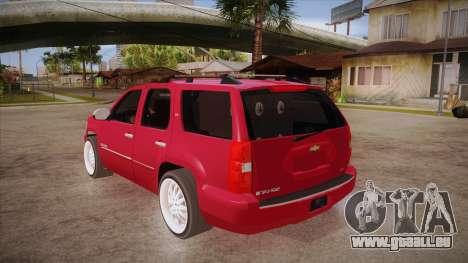 Chevrolet Tahoe LTZ 2013 Custom für GTA San Andreas zurück linke Ansicht