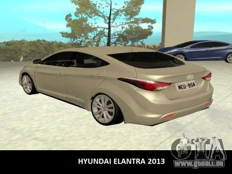 Hyundai Elantra 2013 pour GTA San Andreas laissé vue