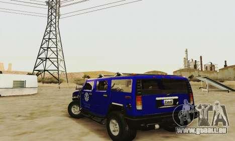 THW Hummer H2 für GTA San Andreas zurück linke Ansicht